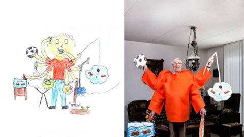 Nagyszülők úgy fotózva, ahogy a gyerekek lerajzolták őket