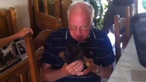 Megható videó: így örült az özvegy nagypapa az új barátjának