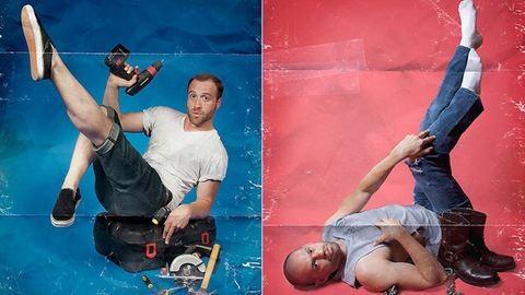 Szexi fotók: férfiak pin-up szerepben