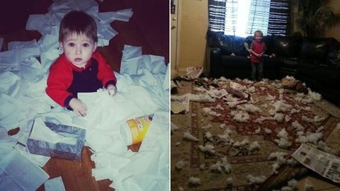 Vicces fotók: amikor pici gyerekek nagyon nagy rendetlenséget csinálnak