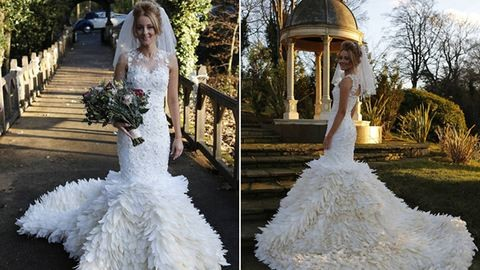 200 óra munkával készítette el esküvői ruháját az ara