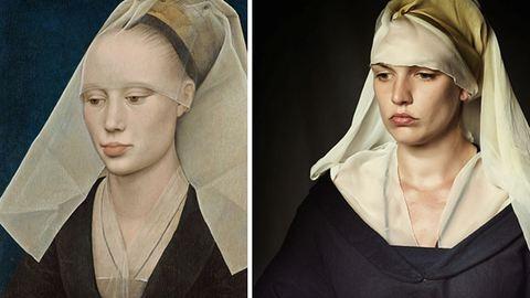 Festménybe illő ruhákat készít egy nő – galéria