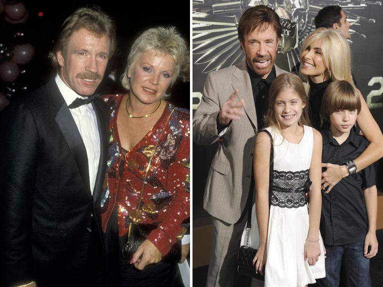 Chuck Norris és első felesége Diane Holechek (balra), Genna O'Kelley és a gyerekek Dakota és Danilee (jobbra)