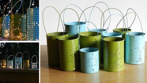 Kerti hangulatvilágítás konzervdobozokból