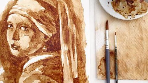 Festék helyett kávéval fest – meseszép képek