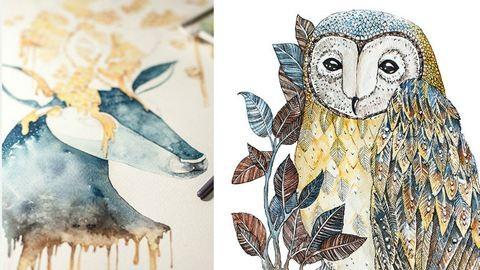 Gyönyörű rajzokat készít az állatokról vízfestékkel egy művész