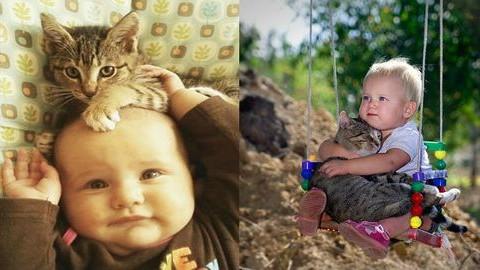 20 elképesztően aranyos fotó a macskák és a gyerekek barátságáról