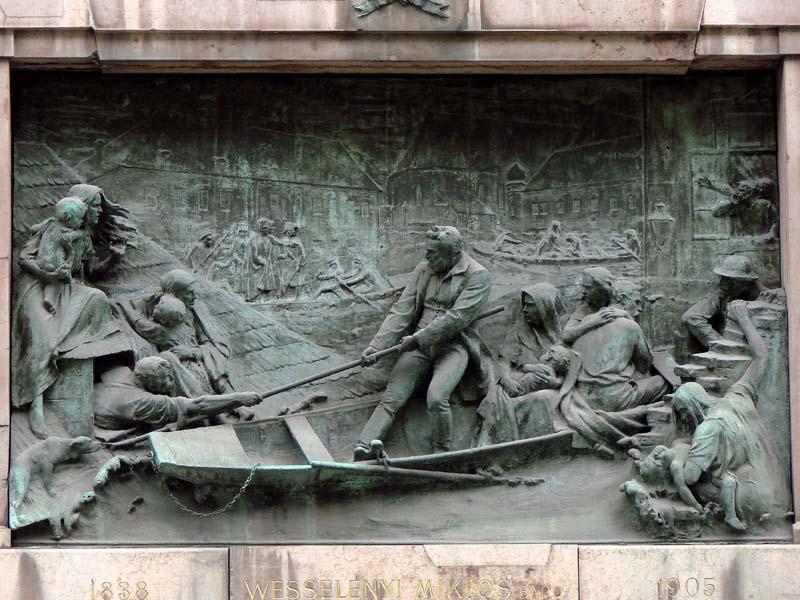 A bronz és márvány 350 cm x 210 cm-es domborművet Holló Barnabás készítette 1905-ben.