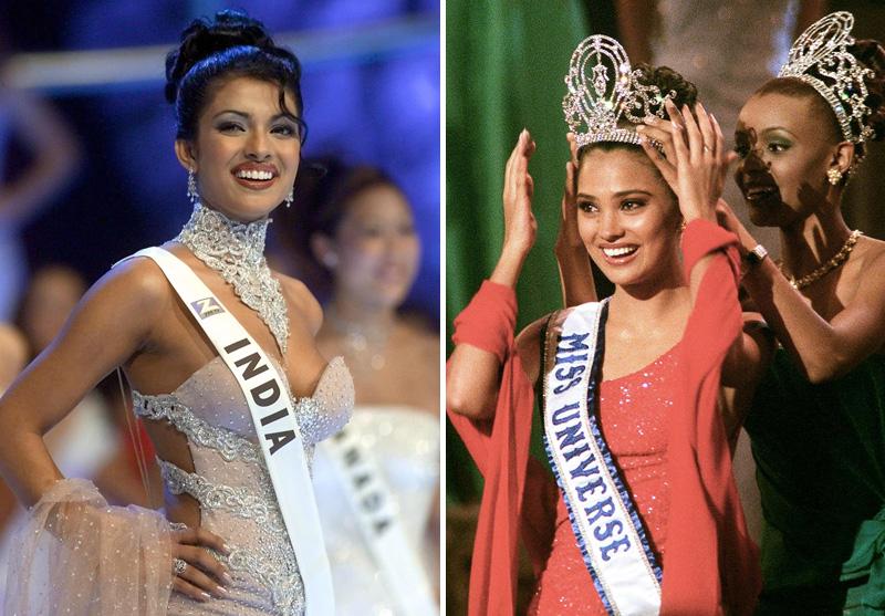 Miss World Priyanka Chopra és Miss Universe Mpule Kwelagobe, indiai szépségkirálynők