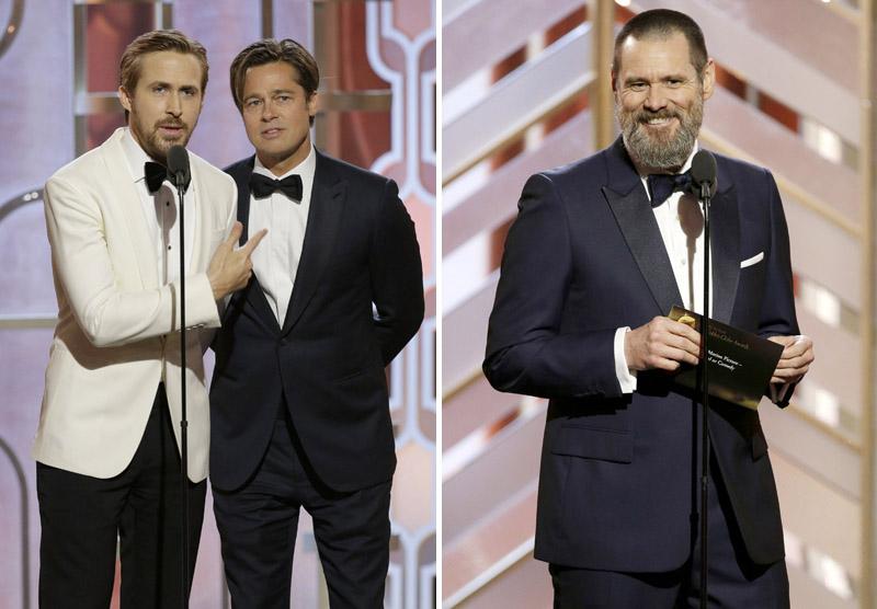 Ryan Gosling és Brad Pitt (balra), Jim Carrey felkonfja (jobbra)