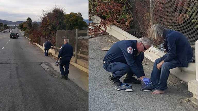 Megható: tűzoltók vittek cipőt a hajléktalan férfinak