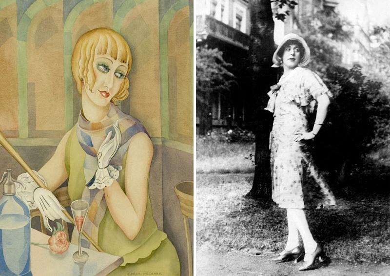 Lili Elbe Gerda Gottlie festményén és egy szintén róla készült fekete-fehér fotó