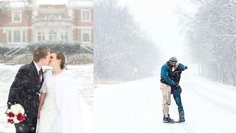 Rekordszámú esküvő volt a nagy havazás ellenére Amerikában – elképesztő képek