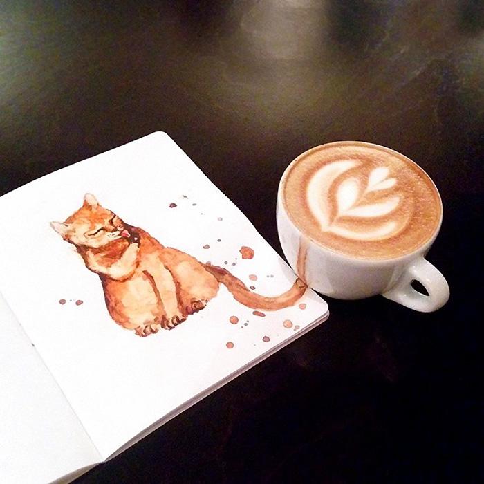 Macskákat varázsol a kiömlött kávéból az orosz illusztrátor