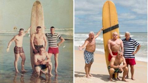50 év után fotózták újra közös strandolós képüket a haditengerészek