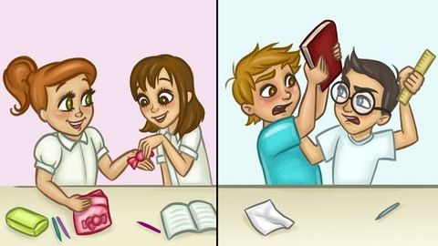 9 cuki rajz, ami tökéletesen megmutatja a különbséget férfi és női barátság között
