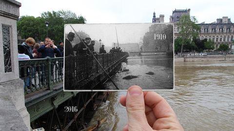 Így nézett ki Párizs az 1910-es nagy árvíz idején és a most