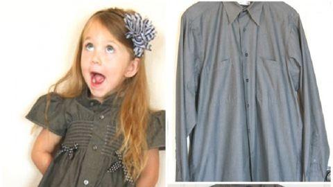 Így lesz az apuka régi ingéből imádni való kislányruha! – fotók