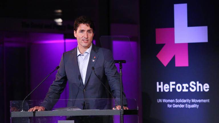 Justin Trudeau a HeForShe-gála színpadán