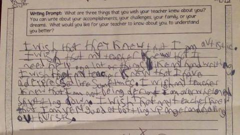 Megható levelet írt az autista kisfiú a tanárának