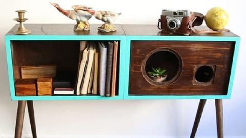 Szupermenő kisasztal régi hangszórókból