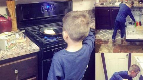 Nekimentek az anyának, mert engedte, hogy fia segítsen a házimunkában