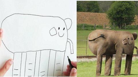 Valósággá varázsolja 6 éves kisfia rajzait az apuka – vicces fotók