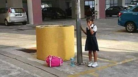 Egy oszlophoz láncolta a kislányát, mert lógott az iskolából