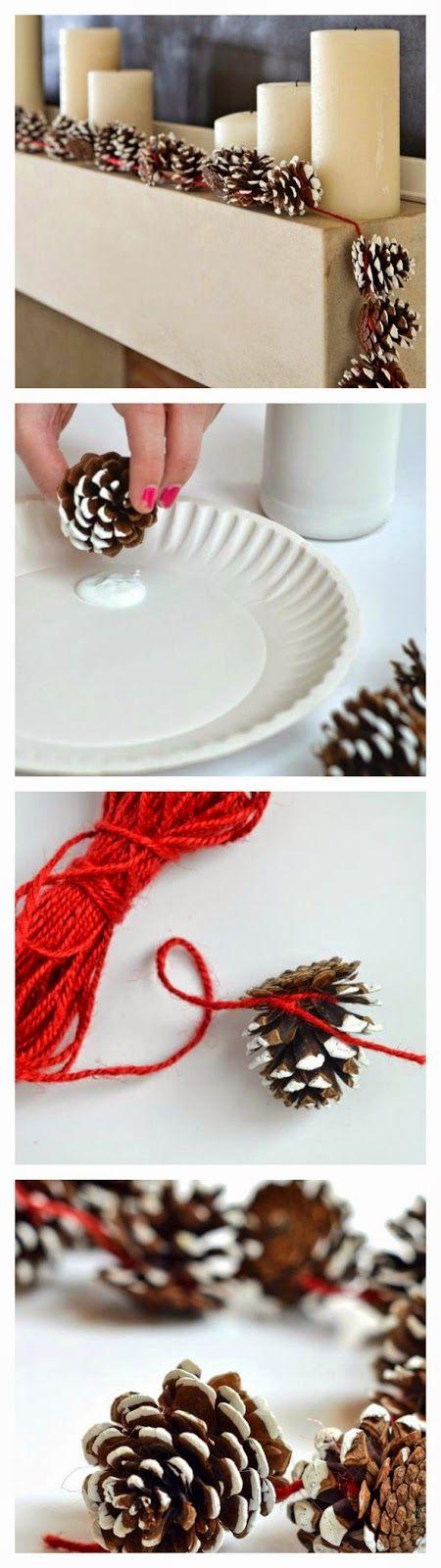 A tobozok nem hiányozhatnak a téli dekorációból. Fűzd fel őket egy piros cérnára, és dekorálj vele szabadon!