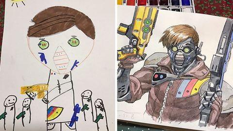 Gyerekei rajzait alakítja elképesztő mesehősökké az apuka