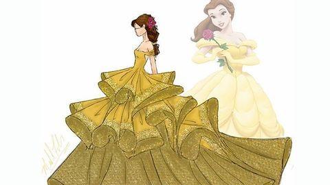 Trendi divatillusztrációkon születnek újjá a Disney-hercegnők ruhái