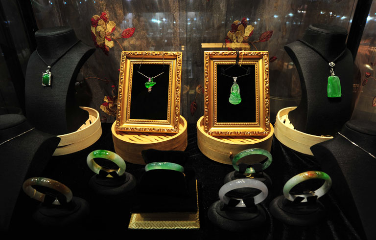 Egy kínai jade kiállítás ékszerei (Fotó: Getty Images)