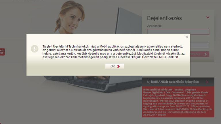 Hibaüzenet az MKB netBANKár nyitóoldalán