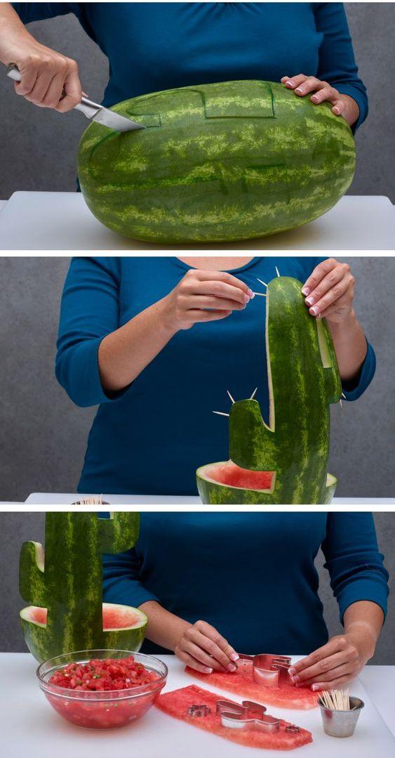Így faraghatsz cuki kaktuszt egy görögdinnyéből