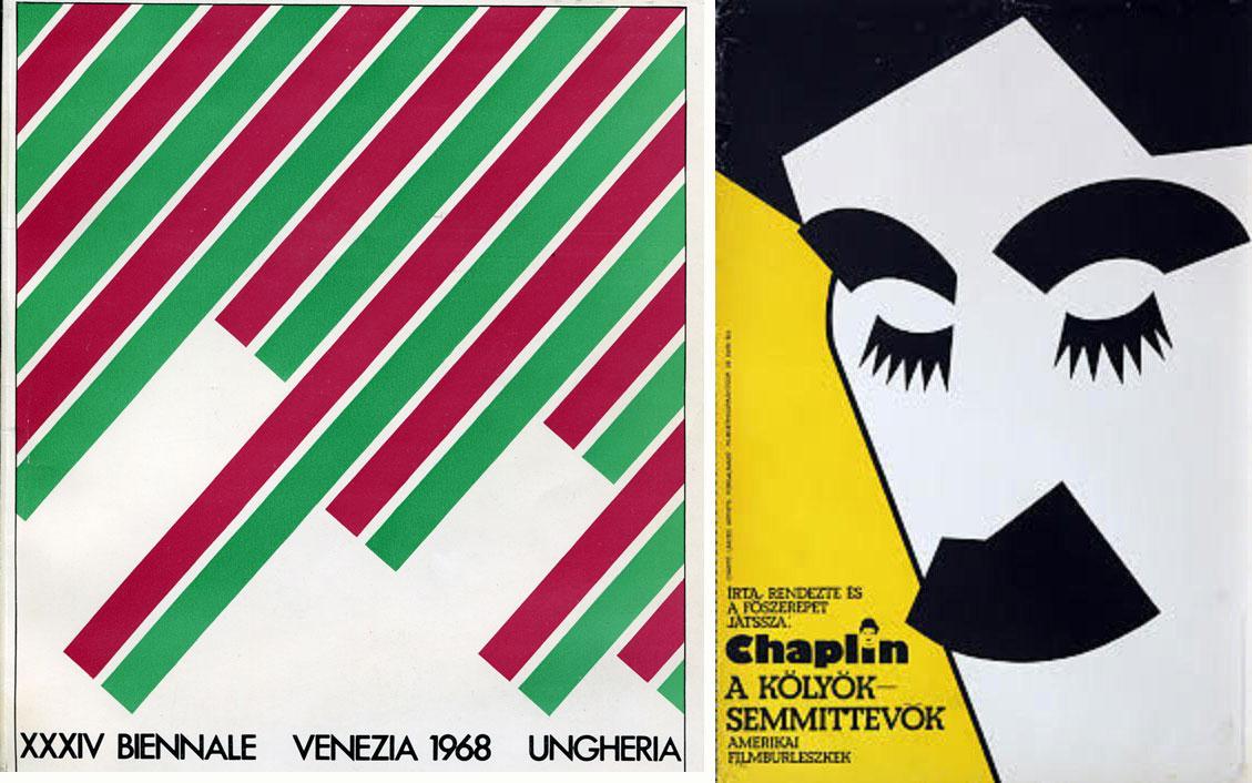 Az 1968-as Velencei Biennáél plakátja és egy Chaplin-filmplakát (Fotó: Kemény György)