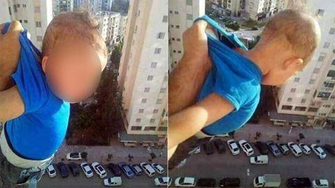 Kilógatta a babát a 15. emeletről, hogy lájkokat szerezzen –  fotó