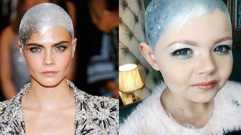 """Cara Delevingne diszkógömb """"frizurájával"""" vigasztalódik a kemoterápia után a kislány"""
