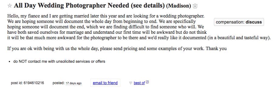 Olyan esküvői fotóst keres a pár, aki a nászéjszakát is megörökítené