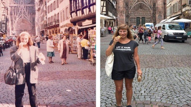 30 évvel később alkotta újra régi, cserediákként készített fotóit egy nő