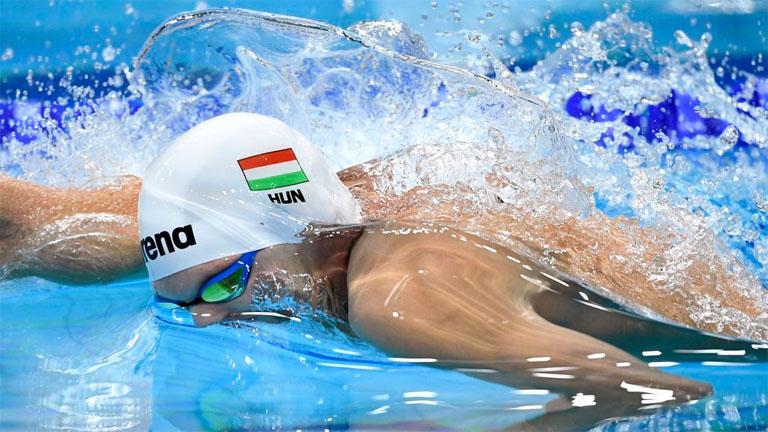 Kozma Dominik a 17. vizes világbajnokságon a Duna Arénában 2017. július 24-én. MTI Fotó: Illyés Tibor