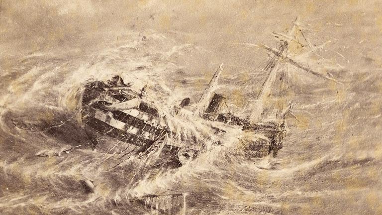 A Mary Celeste nevű hajó küzd a viharral Bermuda partjainál, 1872-ben (Fotó: Getty Images)