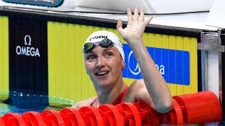 Hosszú Katinka a női 200 méteres hátúszás előfutama után a 17. vizes világbajnokságon a Duna Arénában 2017. július 28-án. MTI Fotó: Illyés Tibor
