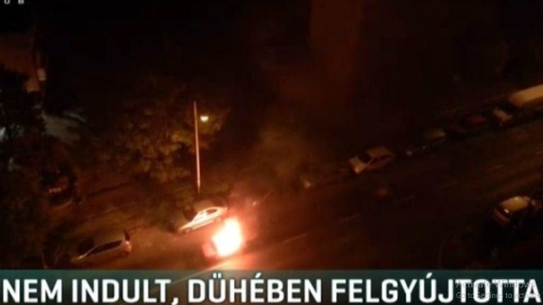 Nem indult a kocsija, mérgében felgyújtotta a győri férfi – videó