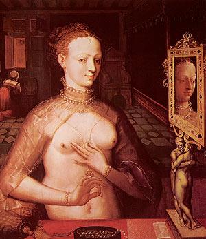 Fontainebleau-i iskola: Diane de Poitiers, 1594 körül - Legendás szépsége miatt a Diane-ról készült eredeti festményt utológa többen is lemásolták