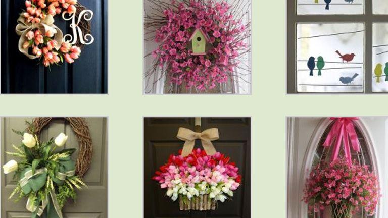 Gyönyörű tavaszi ajtódíszek