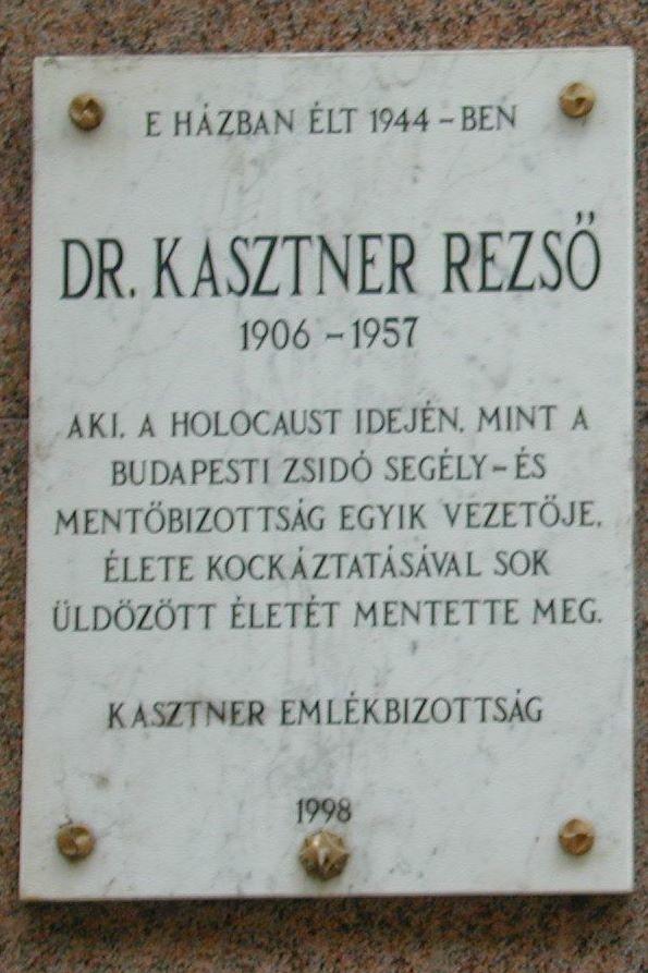 Kasztner Rezső emléktáblája
