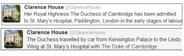Károly herceg hivatalának közleménye (forrás: Twitter)
