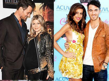 Balra: Josh Duhamel és Fergie. Jobbra: Kevin Jonas és neje