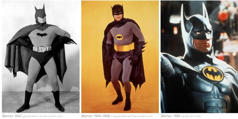 Batman: 1943, 1966-68, 1989. Képek: Buzzfeed