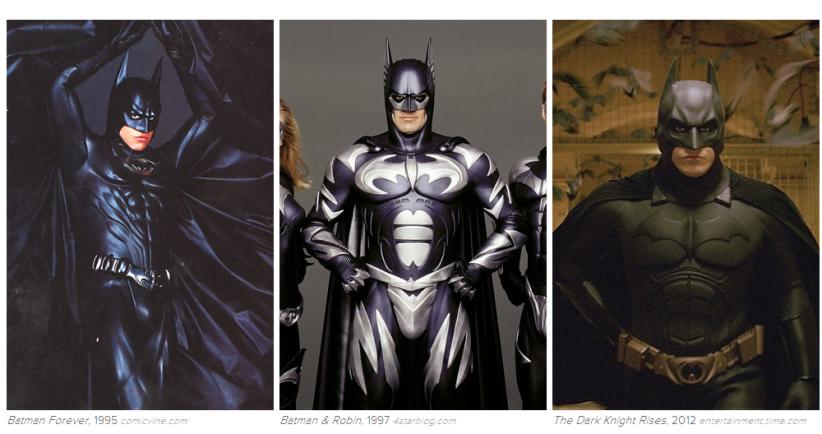 Batman: 1995, 1997, 2012. Képek: Buzzfeed